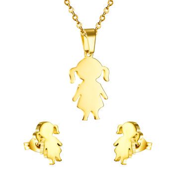Fashion 316 stainless steel New Product Lovely Girl Little Girl Kids Round Necklaces And Earrings Jewelry Sets  for Loving