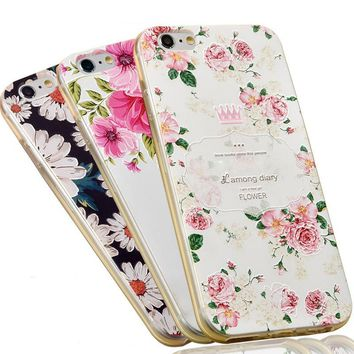 Phone Case For Apple iPhone 6 6s Plus 7 7 Plus Beautiful 3D Relief Floral Painted Cute Cartoon Cat Soft TPU Case Back Cover Bags