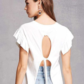 White Ruffle Sleeve Cut Out Tie Back T-shirt