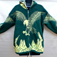 Vintage Artesanias Tuntaquimba Hooded Wool Jacket - Made in Ecuador - Green w/ Yellow Soaring Eagle - Full Zip Front - Size Medium (M)