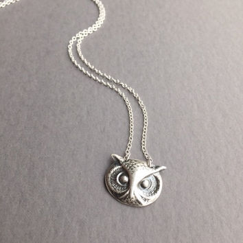 "Silver Owl Pendant, Bird Jewelry, Pure Fine Silver (.999%), Spirit Animal Necklace, Sterling 18"" Chain, Modern Bohemian, Handmade Gift Ideas"