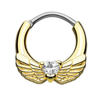 Angel Wings CZ Heart Gold Septum Clicker