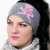 Hand Knit Skull Headband Gray & Pink Ear Warmer by EmofoFashion and NEW Colors too. Women Headband, Hair cover