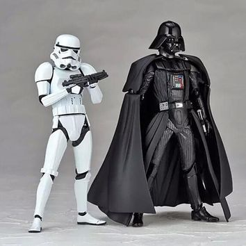 Star Wars Force Episode 1 2 3 4 5  Toy Black Darth Vader With Lightsaber White Stormtrooper With DIY Action Figures Joints Moveable Toys AT_72_6