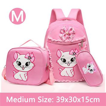 School Backpack Pink Marie Cat Cute Kitty Girls Backpack School Bag With Lunch and Pencil Case Set 3 for Children Primary School Book Bags AT_48_3
