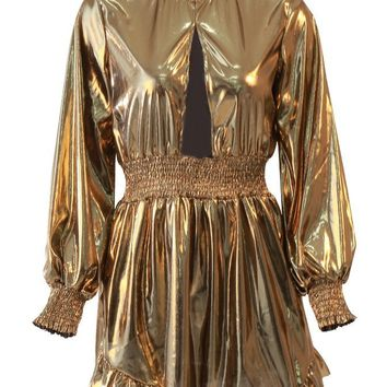 Golden Glow Gold Metallic Long Lantern Sleeve Mock Neck Smocked Waist Cut Out Keyhole Ruffle Flare Mini Dress