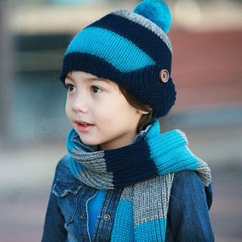 Children Scarf Hat Set Winter Warm Crochet Knitted Hats Caps Tod a4ab156de3d5
