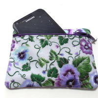 Padded Gadget Bag Cosmetic Bag Coin Purse Purple Pansies