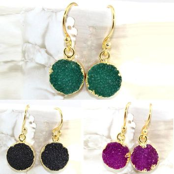 Black Friday Sale !! Natural Agate Druzy 24k Gold Electroplated Earring Jewelry