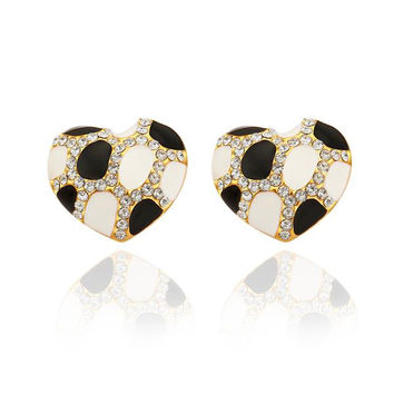 18K Gold Heart Shaped Ivory & Onyx Gem Stud Earrings Made with Swarovksi Elements