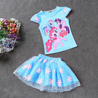 Summer Kids Girls Clothing Set Elsa t shirt + Dress