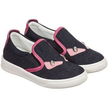 NOV9O2 Fendi Girls Navy Denim and Pink 'Monster' Sneakers