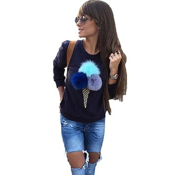 New Ice Cream Female Sweatshirt Man-Made Plush Ball Sweatshirts For Women Casual Harajuku Sweatshirt Women Kawaii Pullovers