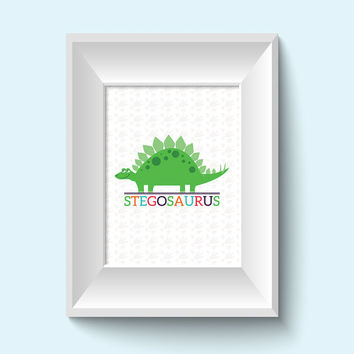 Kids Wall Art / Dinosaur Children's Decor / 8x10 Child Decor Dino Prints / Stegosaurus / Boys Room Decor