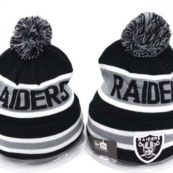 One-nice™ Perfect Oakland Raiders Women Men Embroidery Beanies Winter Knit Hat Cap