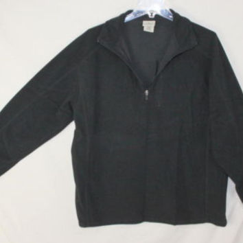 LL Bean L sz Fleece 1.4 zip Mens Black Sweater Lightweight Shirt Outdoor Jacket