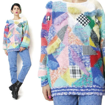 80s Rabbit Fur Patchwork Sweater Pastel Sweater Angora Soft Fuzzy Sweater Knit Pullover Jumper Womens Colorful Rainbow Striped Sweater (M/L)