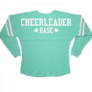 Cheerleader Base Cheer Girl Squad Long Sleeve Slub: Misses Slub V-Neck Jersey