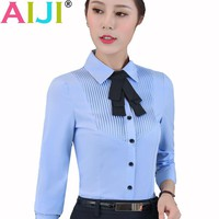 white blue women long sleeve shirt OL elegant bow tie formal chiffon blouse office ladies plus size work wear solid tops