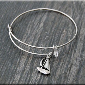 Silver Sail Boat Charm Expandable Bangle Bracelet, Adjustable Bangle Bracelet, Stacking Charm Bracelet, Boat Bangle, Sail Boat Charm