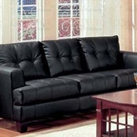 Coaster Fine Furniture 501681 Samuel Contemporary Leather Sofa, Black