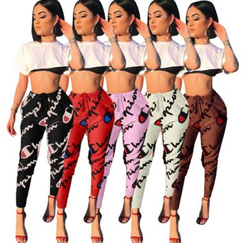 Hot Women's Champion Print Casual Sport Stretch Pants Joggers