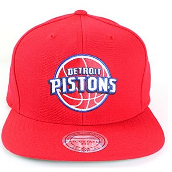 Detroit Pistons NBA Mitchell & Ness Team Logo Solid Wool Adjustable Snapback Hat (Red)