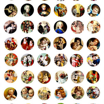 family siblings clip art digital image download COLLAGE SHEET 1 inch circles victorian people children brothers sisters art printables