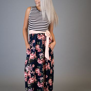 Black and White Striped Maxi with Navy Floral (S-XL)
