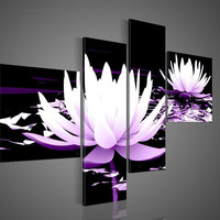 handpainted 4 piece black white purple modern decorative oil painting on canvas wall art flower picture for living room