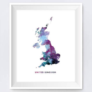 United Kingdom Map Print Watercolor London UK Wall Art United Kingdom Poster Modern England Travel Office Decor Gift Digital Download