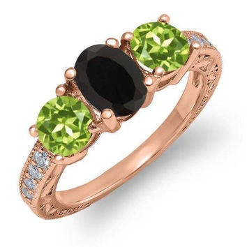 1.92 Ct Oval Black Onyx Green Peridot 18K Rose Gold Plated Silver Ring