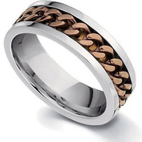 Stainless Steel 8.0mm Ring with Chocolate Gold Immerse Plating Many Sizes