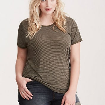 Premium Olive and White Striped Vintage Wash Crew Neck Tee