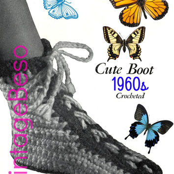 Vintage CROCHET Pattern Boot Crochet Pattern is a House Slipper to keep toes toasty in cold weather Instant Download PdF Pattern