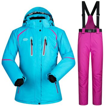 2017 New High Quality Women Ski Suit Set Windproof Waterproof Warm Snowboard Jackets And Pants Winter Snow Sportswear Clothing
