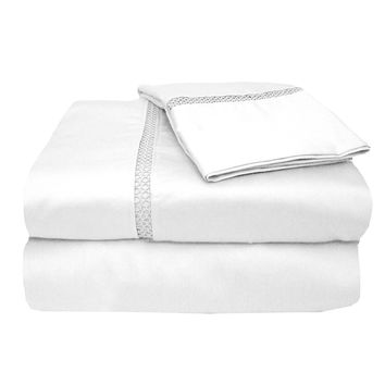 MADE IN THE USA 800TC 100% Cotton Sateen Princeton Sheet Set Queen, White By Veratex