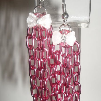 Pink Chain Earrings with White Rhinestone Bow