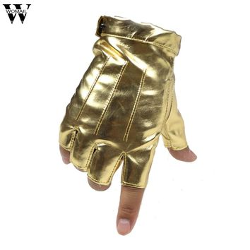 Half Finger PU Leather Glove Female Women Hip-hop Nightclub Dancing Dance Performances Gloves Gold White Amazing JL 18