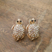 Gold Rhinestone Turtle Earrings - Sea Turtle Stud Earrings