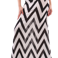 Chevron Narrow Striped Skirt - Black and White