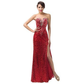 Sexy Split Glitter Red Sequin Celebrity Long Prom Party Dress.