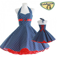 50's vintage dress navy blue red Polka dots Tailor Made after your measurements #0021