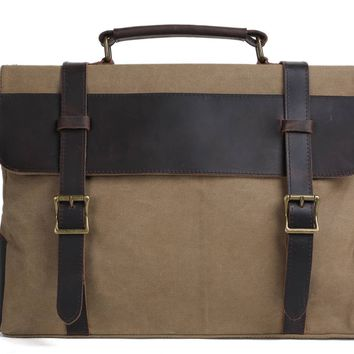 Handmade Waxed Canvas with Leather Briefcase Messenger Bag - Khaki