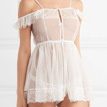 L'Agent by Agent Provocateur - Madalene Leavers lace-trimmed tulle nightdress
