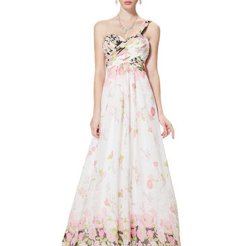 Sexy V-neck Pinks Floral Printed Chiffon Evening Dress