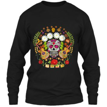 Day Of The Dead Tee  Mariachi Guitar Skull  LS Ultra Cotton Tshirt