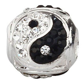 Ollia Jewelry 925 Sterling Silver Beads Tai Chi Symbol Yin Yang Charm with White and Black Austrian Crystals Chinese Style Ball Shape Charms