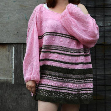 Plus size Designer clothes Unique sweater XL - XXL Pink Olive Long sleeved knitted top Loose Lace knit Mohair sweater Oversized Fit sweater