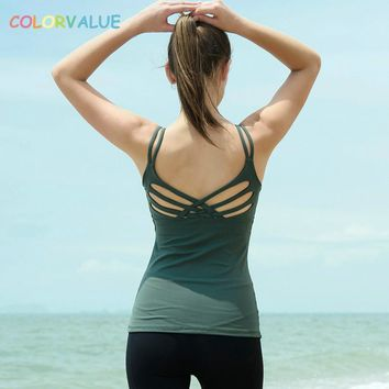 Colorvalue Sweatproof Back Cross Sport Fitness Tank Tops Women High Quality Nylon Workout Yoga Vest Tops with Removable Pads